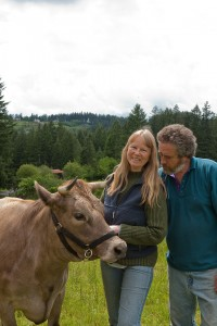 Jacqueline and Joseph with one of their cows ...