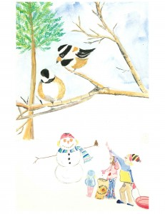 Chickadees Christmas notecard