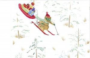 skiing mouse Christmas notecard