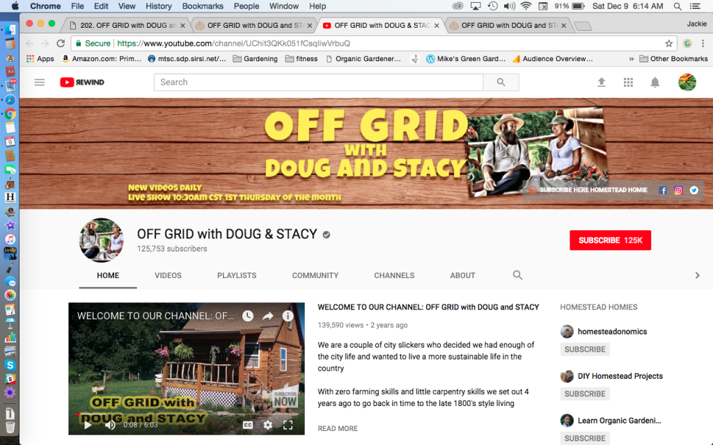 Off Grid With DOUG and STACY youtube channel